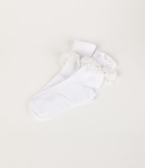 White Lace Trimmed Socks