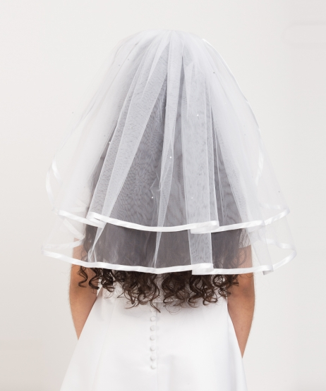 Satin Edge Scattered Diamante Veil