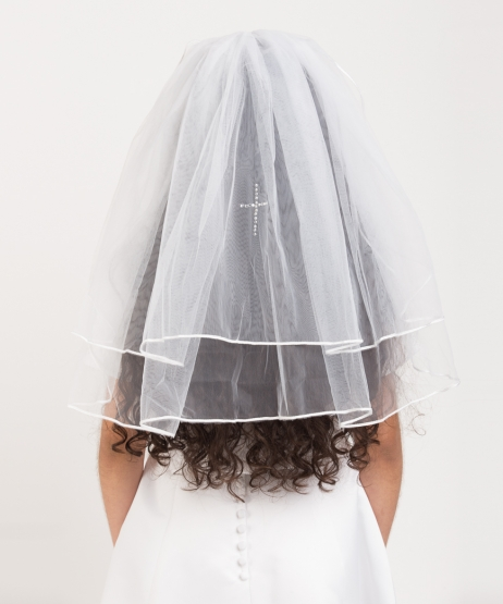 Pencil Edge Diamante Cross Veil